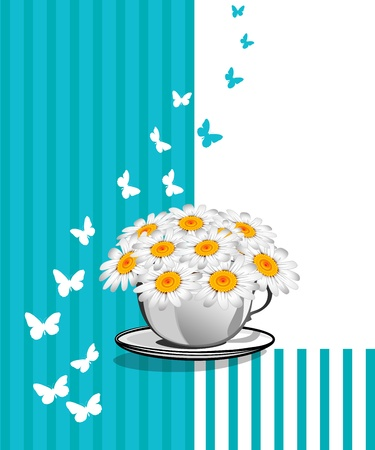 Greeting card with daisies and abstracts background. Chamomile flower. Stock Vector - 17781654