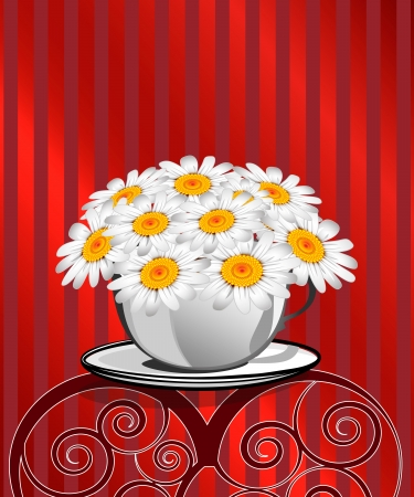 Greeting card with daisies and abstracts background  Chamomile flower  Stock Vector - 17781694