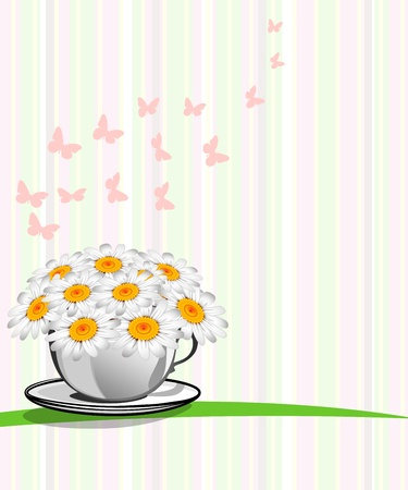 Greeting card with daisies and abstracts background  Chamomile flower  Stock Vector - 17781692