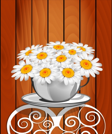 chinaware: Herbal chamomile in a white cup. Greeting card