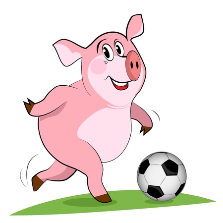 sporting event: Pig play a football. Soccer player.
