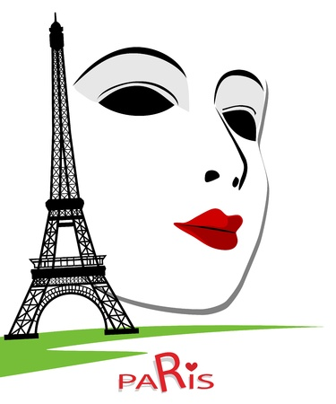 Dramatic: Paris cards as symbol love and romance travel Illustration