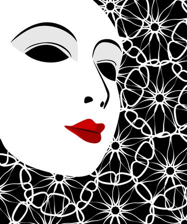 pantomime: White mask and black background Illustration