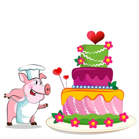 Pig cook - chef holds. Birthday Cake.  Vector
