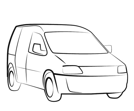 mini:  White commercial vehicle - delivery van. Illustration in simple lines