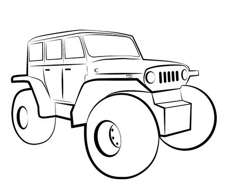 rover: Monster truck. Cartoon 4x4 vehicle.  Illustration