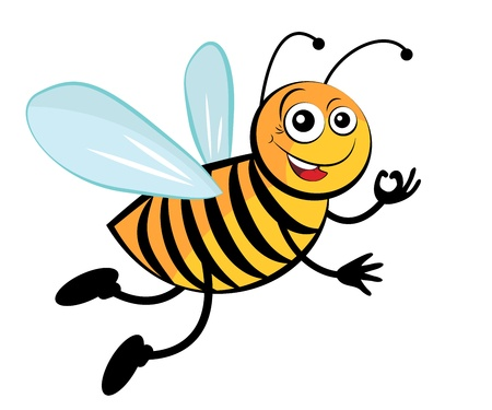an insect sting: Bee. Cute cartoon bees.