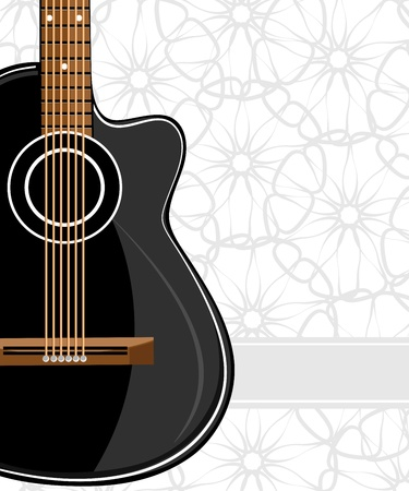 Black classic guitar on floral background Çizim
