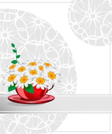 Daisies in a red cup. Wedding card Stock Vector - 18850970
