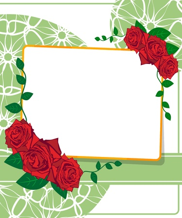 Wedding card. Greeting card with roses Stock Vector - 18850974