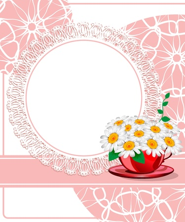 Daisies in a red cup. Wedding card Stock Vector - 18850983