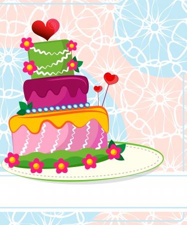 Wedding cake for Wedding invitations or announcements Stock Illustratie