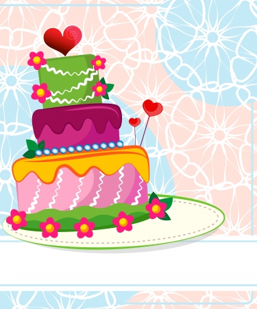 Wedding cake for Wedding invitations or announcements Vector