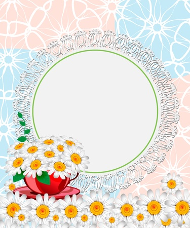 Daisies in a red cup. Wedding card
