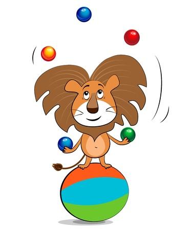 Leeuw jongleren met ballen Stock Illustratie