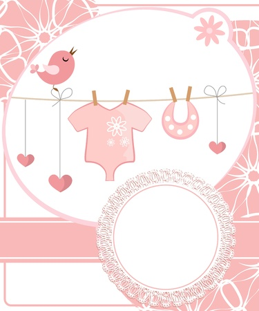 birth announcement: Cute scrapbook for girl with baby elements.