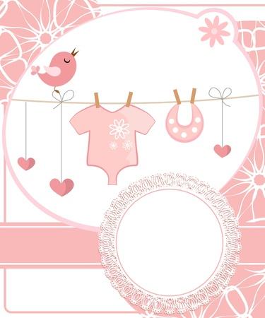 nacimiento bebe: Lindo libro de recuerdos para la muchacha con elementos infantiles.