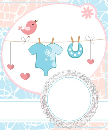 Cute scrapbook for boy with baby elements. Vector