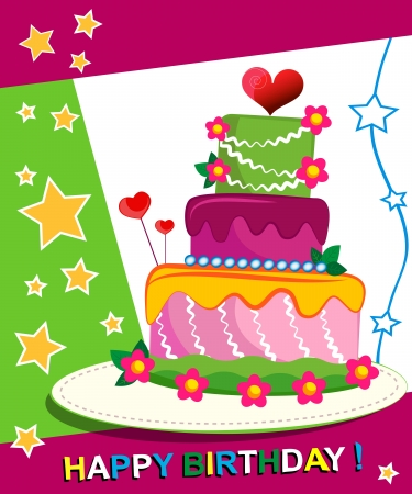 Birthday Cake. Children postcard. Day of birth. Illustration