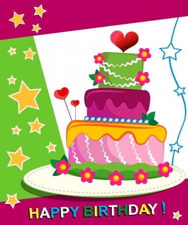 Birthday Cake. Children postcard. Day of birth. Stock Illustratie
