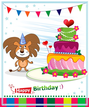 Birthday Cake. Children postcard. Day of birth. Vector