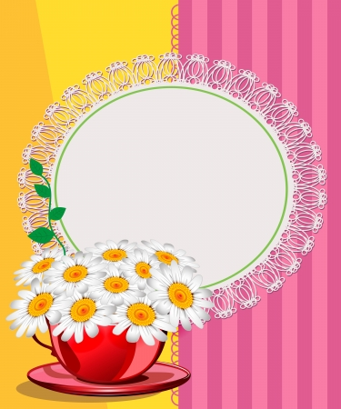 Daisies in a red cup. Wedding card Stock Vector - 18902632
