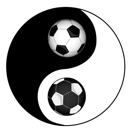 Football  Philosophy football  Yin yan symbol of harmony and balance Vector