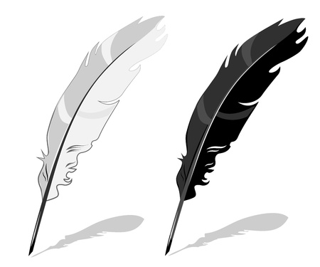 Feather pen, black and white composition with shadow Vector