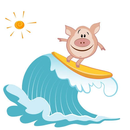 Cartoon pig Surfer Vector