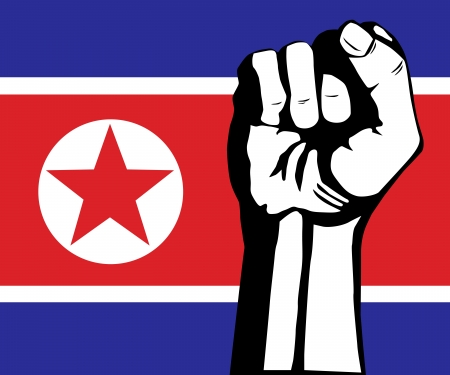 Vlag van Noord-Korea en vuistprotest