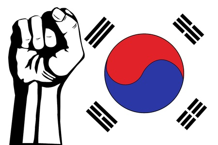 South Korea flag and fist protest