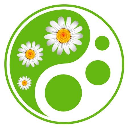 Eco labels. Groene symbool concept met behulp van Yin Yang in een blad ontwerp Stockfoto - 19374979