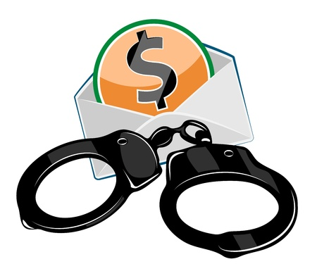 breakers: Handcuffs with money isolated in white background