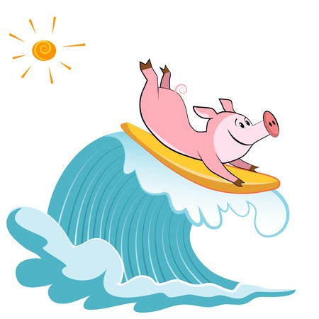people having fun: Cartoon pig Surfer