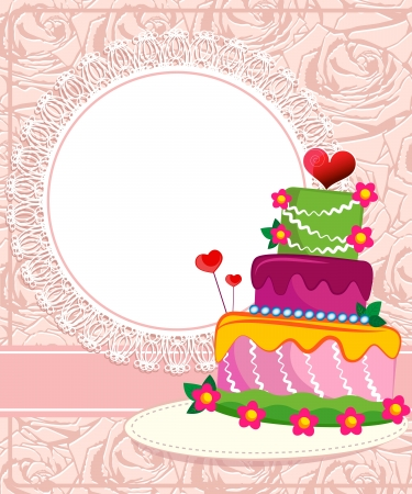 Wedding cake for Wedding invitations or announcements Illustration