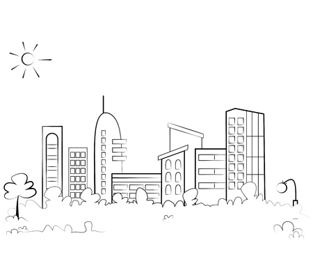 Panorama town - sketch illustration Stock Illustratie
