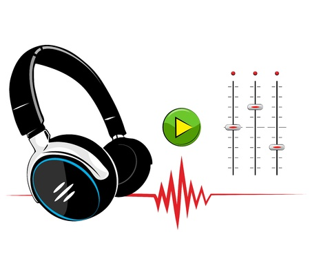 Headphones on white background. Music background. Illustration