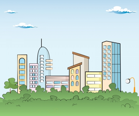 Panorama town - sketch illustration Vector