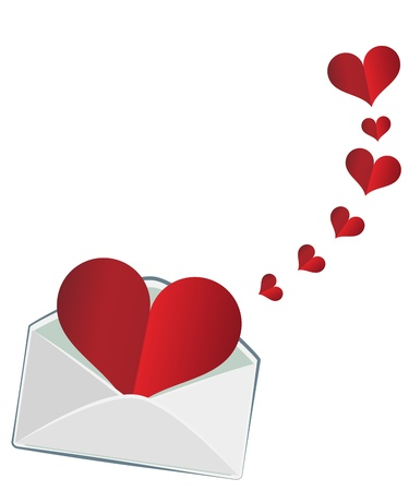 The heart in the envelope Vector