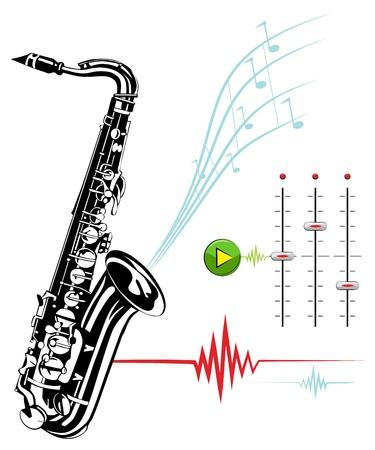 saxof�n: Saxof�n sobre un fondo blanco. Estudio de grabaci�n.