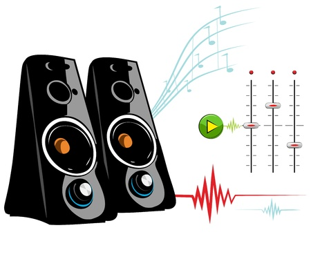 Spreker op een witte achtergrond. Recording Studio Stock Illustratie