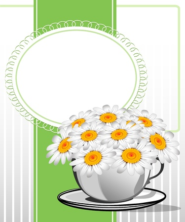 Greeting card with daisies and abstracts background. Chamomile flower. Stock Vector - 19579044