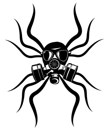 gas masks: Gas mask stencil isolated over. Tatto element  Illustration
