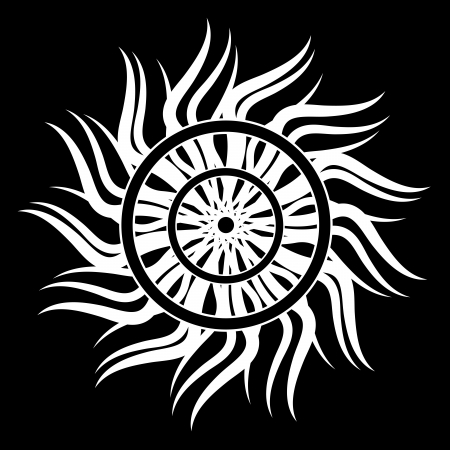 Black and white sun for tattoo Illustration