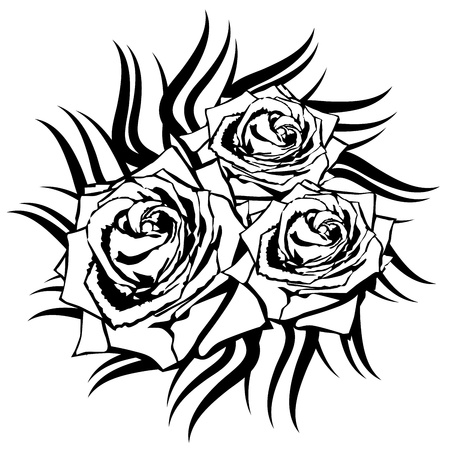 rose tattoo: Black rose on white background. Tattoo element