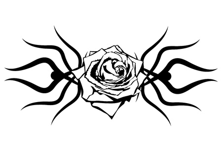 Black rose on white background. Tattoo element Vector