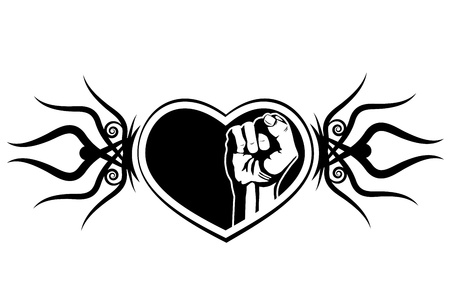 ornamental scroll: Heart and fist. The tattoo design element  Illustration