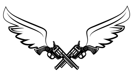 rivalry: Two cowboy revolver guns with wings Illustration