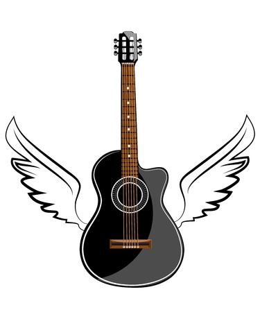 Black acoustic classic guitar on white wings Vector