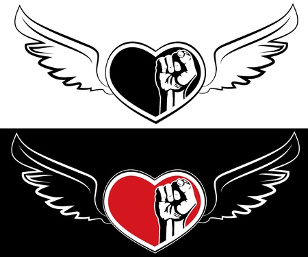 Heart, fist and wings. The tattoo design element  Vector